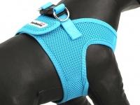 Hrudní postroj pro psy anglické značky Doodlebone v zářivě modré barvě. Vzdušný síťovaný materiál, dvojité zapínání (detail 2)