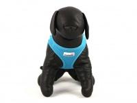Hrudní postroj pro psy anglické značky Doodlebone v zářivě modré barvě. Vzdušný síťovaný materiál, dvojité zapínání