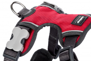 Nastavitelný postroj pro psy od RED DINGO vhodný pro každodenní používání díky podšívce z jemného flísu. Reflexní prvky, dva úchyty na vodítko, barva červená. (2)