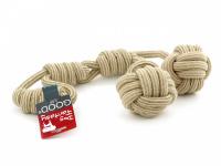 Odolná přetahovací hračka pro střední a velké psy vyrobená z pevného provazu se dvěma uzly. Celková délka 60 cm.