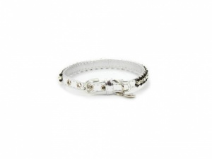 Obojek pro psy od For My Dogs, stříbrný s černými perlami a kamínky