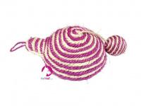 Jednoduchá hračka/škrabadlo pro kočky s balonkem vyrobené ze sisalu. Poutko na zavěšení, rozměry 21 × 8 cm, výběr barev. (4)