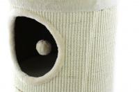 Škrábadlo a pelíšek pro kočky v jednom. Dvě oddělená patra, sisalový vnější oplet, uvnitř kožešinka a zavěšená hračka. Rozměry 35 × 60 cm. (2)