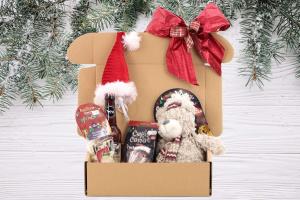 Luxusní Vánoční box pro psy s velkou plyšovou hračkou, stylovou čepičkou, nealko pivem pro psy a pamlsky. Včetně sváteční mašle.