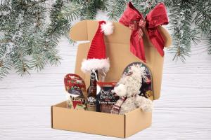 Luxusní Vánoční box pro psy s velkou plyšovou hračkou, stylovou čepičkou, nealko pivem pro psy a pamlsky. Včetně sváteční mašle. (2)