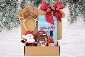 Luxusní Vánoční box pro psy s originální plyšovou hračkou, legračními sobími parohy, nealko vínem pro psy a pamlsky. Včetně sváteční mašle.