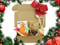 Vánoční box pro psy s vybranými pamlsky a hned dvěma hračkami dle vlastního výběru. Kompletně připravený vánoční dárek – včetně sváteční mašle. (2)