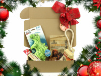 Vánoční box pro psy s vybranými pamlsky a hned dvěma hračkami dle vlastního výběru. Kompletně připravený vánoční dárek – včetně sváteční mašle. (4)