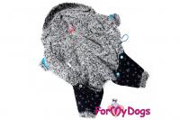 Obleček pro psy – teplý zimní overal BLUE STARS od ForMyDogs z voduodpuzujícího materiálu s kožešinovou podšívkou. Zapínání na druky na bříšku, barva modro-černá. (2)