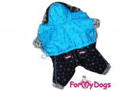 Obleček pro psy – teplý zimní overal BLUE STARS od ForMyDogs z voduodpuzujícího materiálu s kožešinovou podšívkou. Zapínání na druky na bříšku, barva modro-černá. (3)