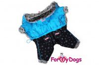 Obleček pro psy – teplý zimní overal BLUE STARS od ForMyDogs z voduodpuzujícího materiálu s kožešinovou podšívkou. Zapínání na druky na bříšku, barva modro-černá.