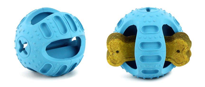 Hračka pro psy na pochoutky – odolný gumový míček určený k plnění dobrotami