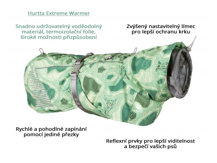 Obleček pro psy Hurtta Extreme Warmer CAMO zelená