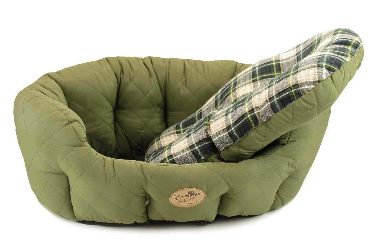 Zelený pelíšek pro psy s oboustranným polštářem